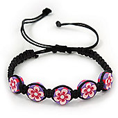 Purple/Black Floral Wooden Friendship Style Cotton Cord Bracelet - Adjustable