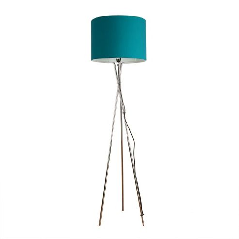 Buy Camden Tripod Floor Lamp In Chrome With Teal Rolla Shade From Our Floor L