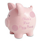 Personalised Polka Dot Pink Piggy Money Box