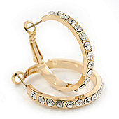 Clear Crystal Classic Hoop Earrings In Gold Plating - 3cm Diameter