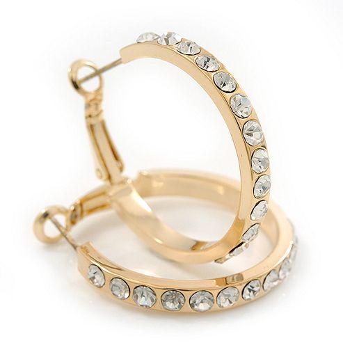 Clear Crystal Classic Hoop Earrings In Gold Plating - 3cm Diameter