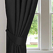 Homescapes Black Herringbone Chevron Curtains Tie Backs Pair