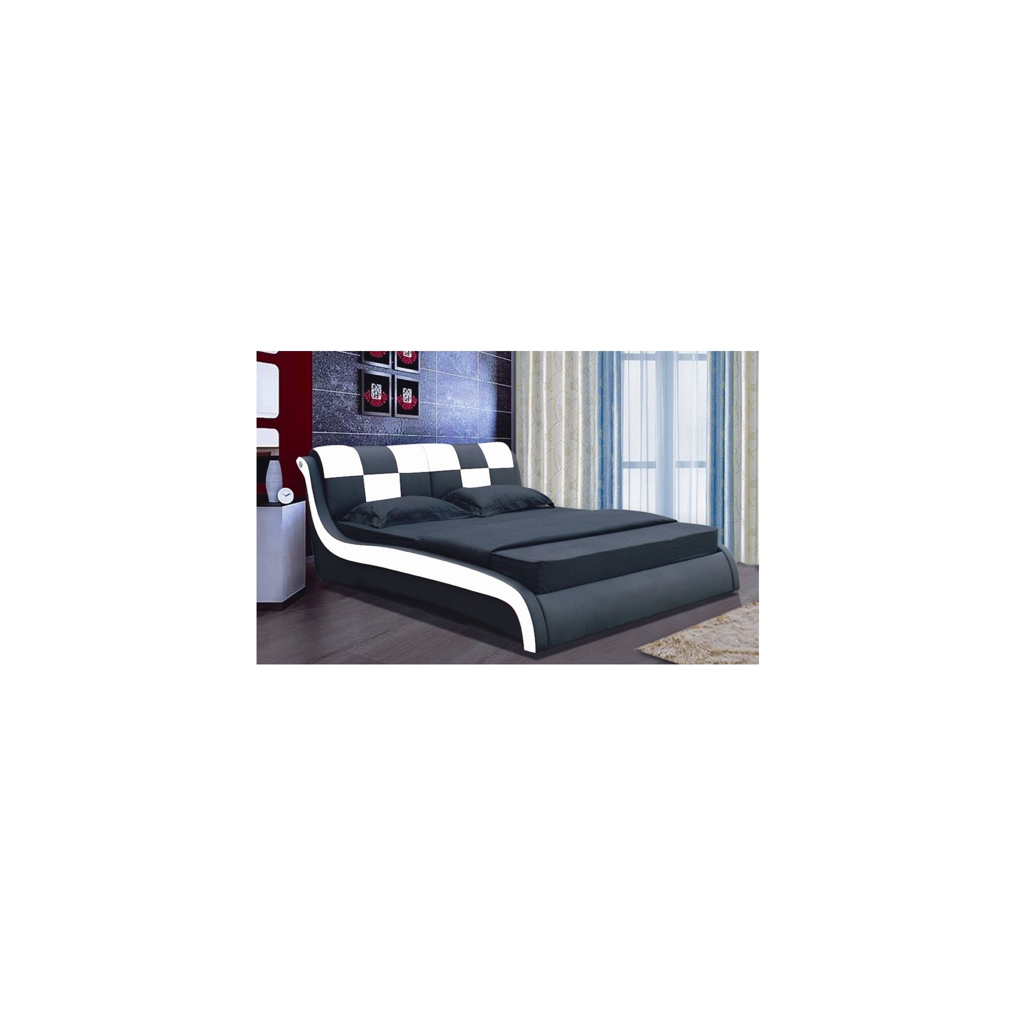 Giomani Designs Designer Check Bed - White / Black - Double at Tesco Direct