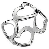 IT Diamonds Rhodium ROMANCE Diamond Open Heart Ring