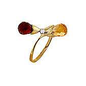QP Jewellers Diamond, Citrine & Garnet Duo Briolette Ring in 14K Gold