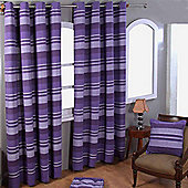 "Homescapes Cotton Morocco Striped Mauve Curtain Pair, 66 x 90"" Drop"