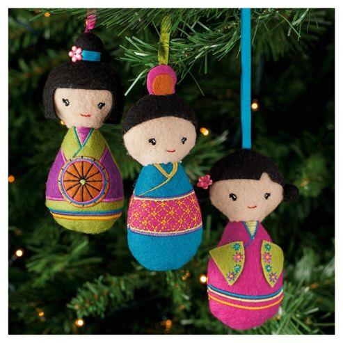 Festive Fabric Kokeshi Dolls Hanging Decoration, 3 Pack