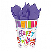 Happy Birthday Radiant Cups - 288ml Paper Party Cups, Pack of 8