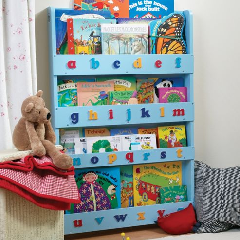 Tidy Books Bookcase in Blue, Lowercase Letters