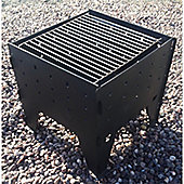 Made O'Metal Black Steel Interlocking Outdoor Fire Pit with BBQ Grille