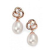 Rose Gold Plated Freshwater Pearl Flower Drop Earrings