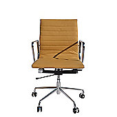 Eames EA117 Inspired Low Back Ribbed Tan Brown Leather Office Chair