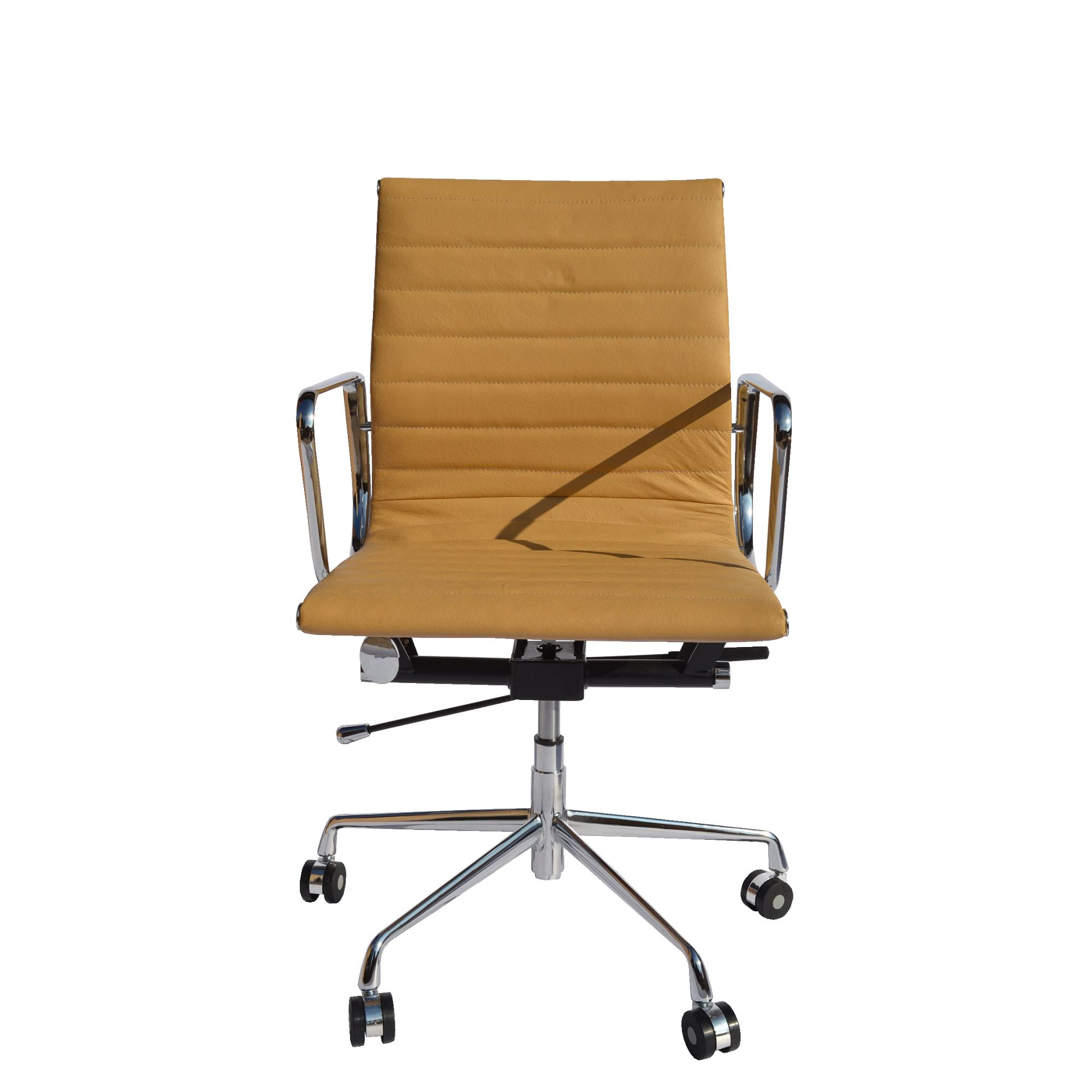 Tan leather office chair - Eames Ea117 Inspired Low Back Ribbed Tan Brown Leather Office Chair
