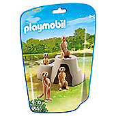 Playmobil 6655 City Life Zoo Meerkat Family with Boulder