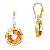 Gold plated drop earrings with champagne quartz stone in pave surround