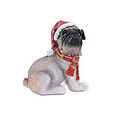 Sitting Festive Resin Christmas Dog Ornament - Right Facing