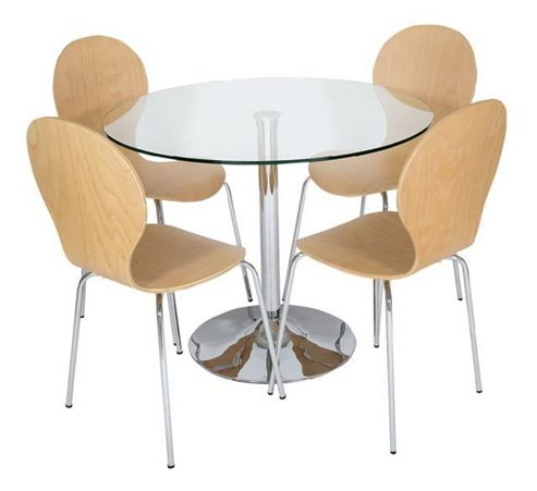 LEVV 5 Piece Dining Table Set - Light Wood