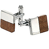 Fred Bennett Sterling Silver and Wood Block Cufflinks