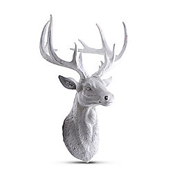 Wall Mountable White Antique Finish Stag's Head Feature