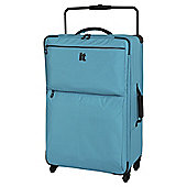 IT Luggage World's Lightest 4-Wheel Turquoise Check Large Suitcase