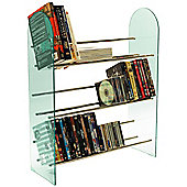 3 Tier Media Storage Shelf Rack - Glass / Chrome