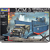 Revell D-Day Lcm3 Landing Craft And Jeep With Trailer 1:35 Model Kit - 03000