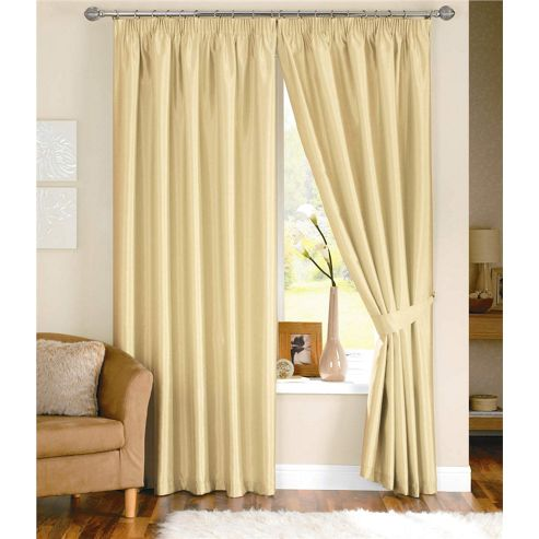 Dreams and Drapes Java 3 Pencil Pleat Lined Faux Silk Curtains (inc. t/b) 46x54 inches (117x137cm) - Cream