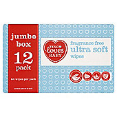 Tesco Loves Baby Ultra Soft Fragrance Free Economy Box Wipes 12x64