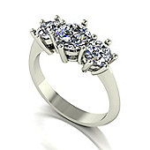9ct White Gold 3 Stone Round Brilliant Moissanite Ring.