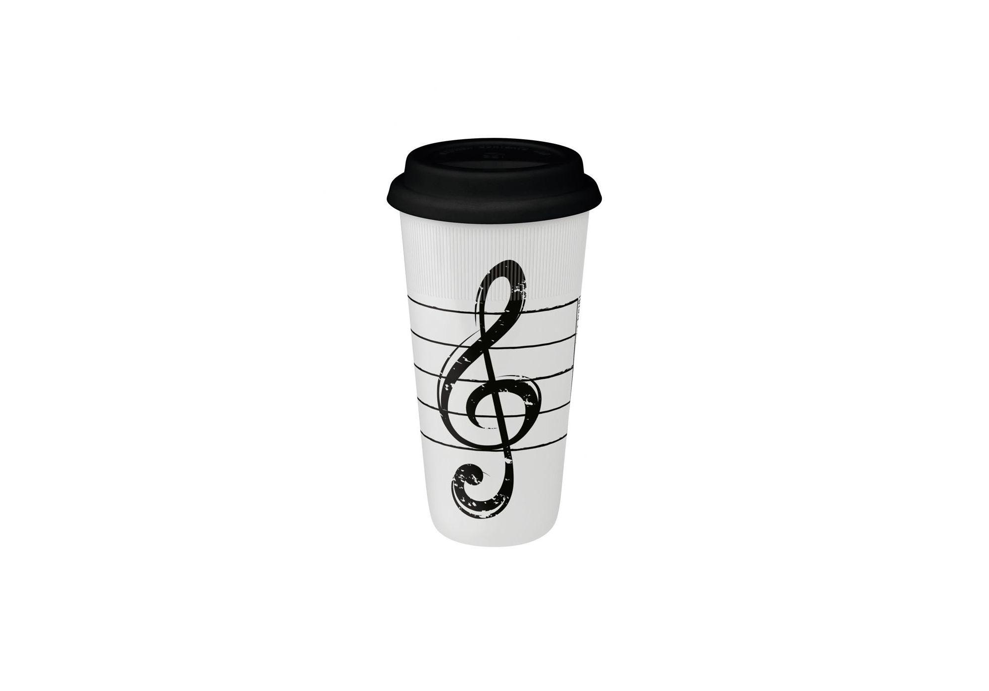 K?nitz Coffee-to-go XXL Clef-on-White Mug (Set of 2)