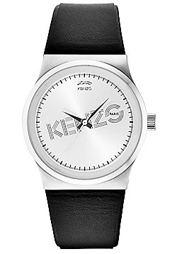 Kenzo Dix-Huit Unisex Black Leather Watch 9600301
