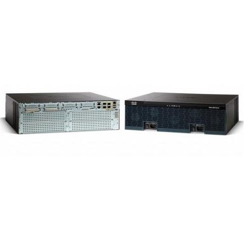 Cisco 3945 Integrated Services Router with 4 Onboard GE, C3900-SPE250/K9, 3 EHWIC Slots, 3 DSP Slots, 4 SM Slots, 256MB Flash, 1GB DRAM, IP Base