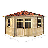 10ft x 10ft (3m x 3m) Corner Log Cabin - Double Glazing (44mm Wall Thickness)