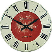 Roger Lascelles Clocks Large Enamel Turret Dial with Red Centre Wall Clock