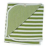 Pigeon Organics Broad Stripe Reversible Blanket Green 70x70cm
