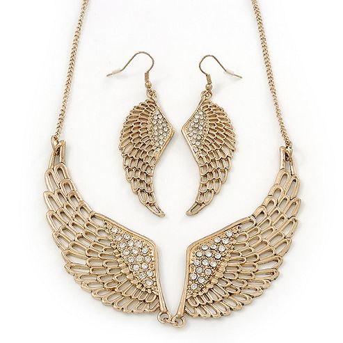 Gold Plated Crystal Double Angel Wing Necklace & Drop Earrings Set - 44cm Length /7cm Extension