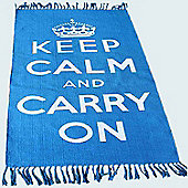 Homescapes Keep Calm And Carry On Blue White Rug Hand Woven Base, 90 x 150 cm