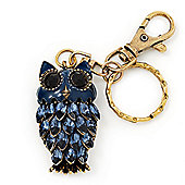 Cute Dark Blue Enamel Diamante Owl Keyring/ Bag Charm (Burn Gold Plated Metal)