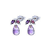 QP Jewellers 3.40ct Amethyst Petite Galanthus Stud Earrings in 14K White Gold
