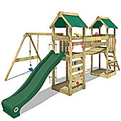 Wooden Climbing Frame WICKEY SunFlyer With Green Swing