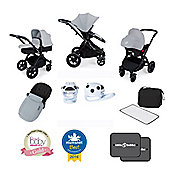 Ickle Bubba Stomp V3 AIO Isofix Travel System + FREE accessories Silver (Black Chassis)