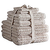 Hotel Egyptian Cotton Ribbed 6 Piece Towel Bale - Pebble