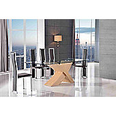 Valencia Glass & Oak 160 cm Dining Table with 4 Brown Elsa Chairs