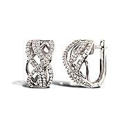 Rhodium Coated Sterling Silver Cubic Zirconia Love Heart Stud Earrings