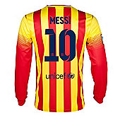 2013-14 Barcelona Away Long Sleeve Shirt (Messi 10) - Red