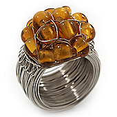 Wide Rhodium Plated Wire Pearl Gold Glass Bead Band Ring