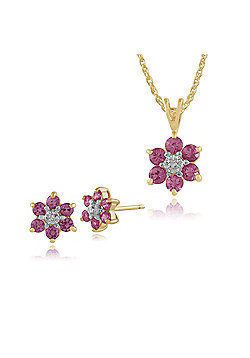 Gemondo 9ct Yellow Gold Pink Sapphire & Diamond Cluster Stud Earrings & 45cm Necklace Set