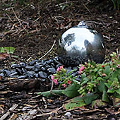 20cm Solar Powered Stainless Steel Sphere Water Feature