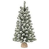 3ft Christmas Tree, Flocked Emperor Tree in Jute Bag