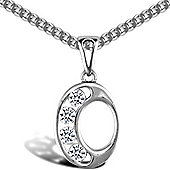 Jewelco London Sterling Silver Cubic Zirconia Identity Pendant - Initial O - 18inch Chain